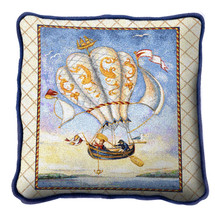 Airship Textured Hand Finished Elegant Woven Throw Pillow Cover 100% Cotton Made in the USA Size 17x17 Pillow