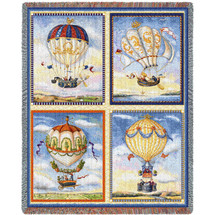 Pure Country Weavers - Hot Air Balloon Collage Woven Large Soft Comforting Throw Blanket With Artistic Textured Design Cotton USA 72x54 Tapestry Throw