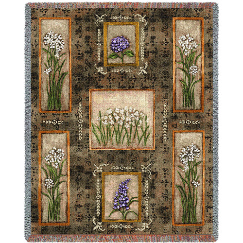 Garden Maze paper whites, hydrangeas and lilacs Woven Large Soft Comforting Throw Blanket With Artistic Textured Design Cotton USA 72x54 Tapestry Throw