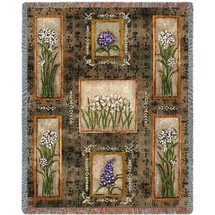 Pure Country Weavers - Garden Maze paper whites, hydrangeas and lilacs Woven Large Soft Comforting Throw Blanket With Artistic Textured Design Cotton USA 72x54 Tapestry Throw