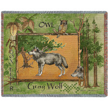 Gray Wolf Lodge Blanket Tapestry Throw