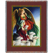 Shepherd Boy and Guardian Angel by Lynn Bywaters Tapestry Throw