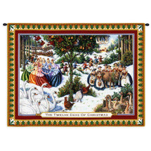 Twelve Days of Christmas | Woven Tapestry Wall Art Hanging | Festive Christmas Carol Artwork | 100% Cotton USA Size 34x26 Wall Tapestry