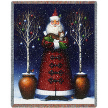 Kitty Santa - Lynn Bywaters - Cotton Woven Blanket Throw - Made in the USA (72x54) Tapestry Throw