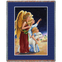 Pure Country Weavers - Angels At Night Woven Large Soft Comforting Throw Blanket With Artistic Textured Design Cotton USA 72x54 Tapestry Throw