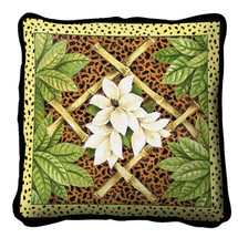 Bamboo and Skin Textured Hand Finished Elegant Woven Throw Pillow Cover 100% Cotton Made in the USA Size 17x17 Pillow