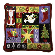 Christmas Icons Textured Hand Finished Elegant Woven Throw Pillow Cover 100% Cotton Made in the USA Size 17x17 Pillow