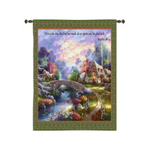 Springtime Glory by James Lee | Woven Tapestry Wall Art Hanging | Dreamy Impressionist Forest Cottage Biblical Artwork | 100% Cotton USA Size 34x26 Wall Tapestry
