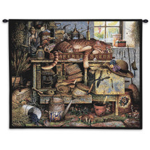 Remington The Horticulturist by Charles Wysocki | Woven Tapestry Wall Art Hanging | Sleeping Cat among Garden Tools - Fun Cat Lover's Gift | 100% Cotton USA Size 34x26 Wall Tapestry