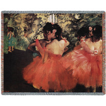 Dancers In Pink Edger Degas - Cotton Woven Blanket Throw - Made in the USA (72x54) Tapestry Throw