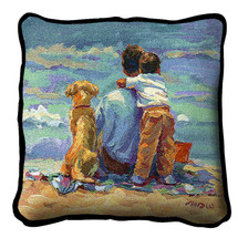 Treasured Moment Textured Hand Finished Elegant Woven Throw Pillow Cover 100% Cotton Made in the USA Size 17x17 Pillow