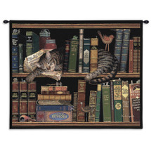 Max In the Stacks by Charles Wysocki | Woven Tapestry Wall Art Hanging | Sleeping Cat on Bookshelf - Fun Cat Lover's Gift | 100% Cotton USA Size 34x26 Wall Tapestry