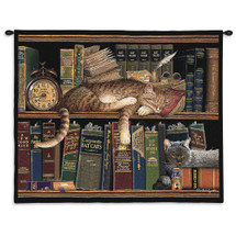 Remington the Well Read - Whimsical Sleeping Cats on Bookshelf - Wall Tapestry