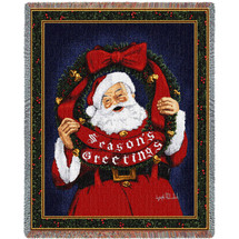 Season's Greetings Santa Claus With Wreath Woven Large Soft Comforting Throw Blanket 100% Cotton Made in USA 72x54 Tapestry Throw