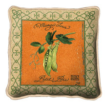 Pea Pod Textured Hand Finished Elegant Woven Throw Pillow Cover 100% Cotton Made in the USA Size 17x17 Pillow