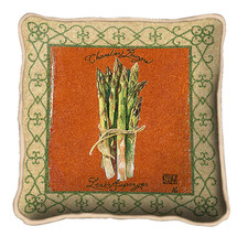 Asparagus Textured Hand Finished Elegant Woven Throw Pillow Cover 100% Cotton Made in the USA Size 17x17 Pillow