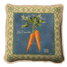 Carrots Textured Hand Finished Elegant Woven Throw Pillow Cover 100% Cotton Made in the USA Size 17x17 Pillow