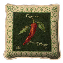 Cayenne Pepper Textured Hand Finished Elegant Woven Throw Pillow Cover 100% Cotton Made in the USA Size 17x17 Pillow