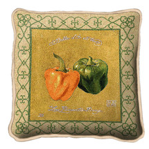 Peppers Textured Hand Finished Elegant Woven Throw Pillow Cover 100% Cotton Made in the USA Size 17x17 Pillow