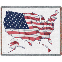 Pure Country Weavers - United States Flag Map Woven Large Soft Comforting Throw Blanket With Artistic Textured Design Cotton USA 72x54 Tapestry Throw