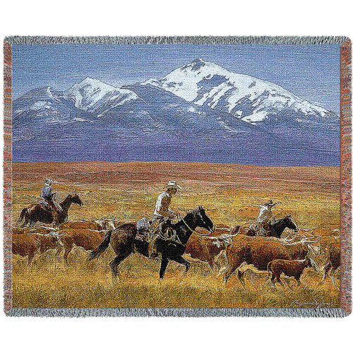 Pure Country Weavers - Cattle Drive Cowboy  Woven Blanket - Western Ranch Decor Throw With Artistic Textured Design Cotton USA 72x54 Tapestry Throw