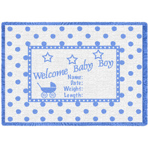 Welcome Baby Blue Small Blanket Afghan