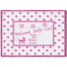 Welcome Baby Girl Small Woven Throw Blanket With Artistic Textured Design by Artisan Textile Mill Pure Country Weavers USA Made Size 50x35 Cotton Woven to Last a Lifetime Afghan