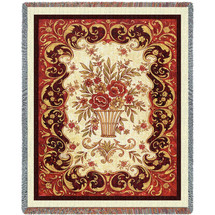 Pure Country Weavers - Red Floral Woven Large Soft Comforting Throw Blanket With Artistic Textured Design Cotton USA 72x54 Tapestry Throw