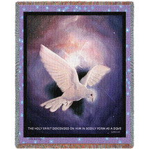 The Holy Spirit Descended On Him in bodily form Of A Dove - Scriptures - Luke 3:22 - Tapestry Throw