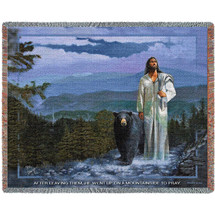 Spirit Of The Smokies Jesus - Mark 6:46 - by Stephen Sawyer Tapestry Throw