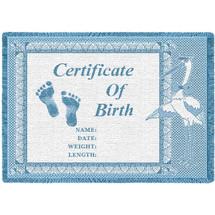 Birth Certificate Blue Small Blanket Afghan
