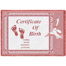 Birth Certificate Pink Small Blanket Afghan
