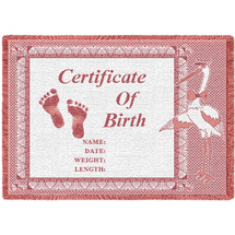 Birth Certificate Pink - Small - Blanket Throw Woven from Cotton - Made in the USA (50x35) Afghan