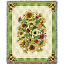 Pure Country Weavers - Sunflower Garden Flower Woven Woven Woven Large Soft Comforting Throw Blanket With Artistic Textured Design Cotton USA 72x54 Tapestry Throw