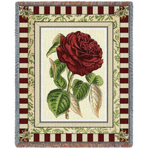 Pure Country Weavers - Red Rose Flower I Woven Large Soft Comforting Throw Blanket With Artistic Textured Design Cotton USA 72x54 Tapestry Throw