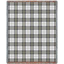 Soft Greyish Grey Plaid Blanket Tapestry Throw