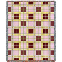 Pure Country Weavers - Innocent Plaid Woven Large Soft Comforting Throw Blanket With Artistic Textured Design Cotton USA 72x54 Tapestry Throw