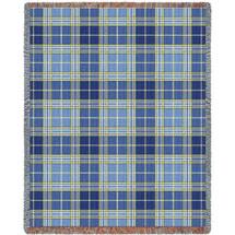 Blue Bell Plaid Tartan Blanket Tapestry Throw