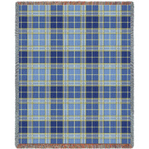 Pure Country Weavers - Blue Bell Plaid Tartan Woven Large Soft Comforting Throw Blanket With Artistic Textured Design Cotton USA 72x54 Tapestry Throw