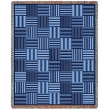Pure Country Weavers - Tile Blue Woven Large Soft Comforting Throw Blanket With Artistic Textured Design Cotton USA Cotton USA 72x54 Tapestry Throw