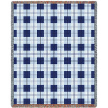 Pure Country Weavers - Blueberry Plaid Woven Large Soft Comforting Throw Blanket With Artistic Textured Design Cotton USA 72x54 Tapestry Throw
