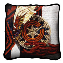 Indian Market Textured Hand Finished Elegant Woven Throw Pillow Cover 100% Cotton Made in the USA Size 17x17 Pillow