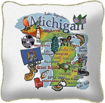 Michigan State Textured Hand Finished Jacquard Woven Impressively Large Elegant Throw Pillow Cover; 100% Cotton USA 24x24 Pillow