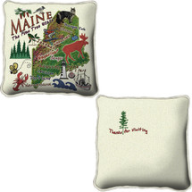 Maine State Textured Hand Finished Jacquard Woven Impressively Large Elegant Throw Pillow Cover; 100% Cotton USA 24x24 Pillow