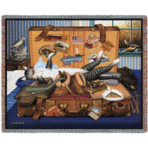 Mabel The Stowaway Cat in a Suitcase by Charles Wysocki Cat Woven Blanket Large Soft Comforting Throw 100% Cotton Made in the USA 72x54 Tapestry Throw