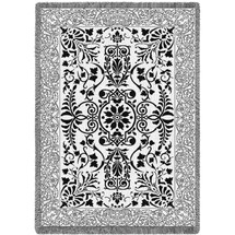 Black and White Floral Scroll Woven Throw Blanket With Artistic Textured Design by Artisan Textile Mill Pure Country Weavers USA Made Size 70x50 Cotton Woven to Last a Lifetime Afghan