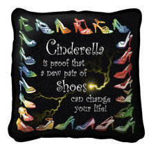 Cinderella Textured Hand Finished Elegant Woven Throw Pillow Cover 100% Cotton Made in the USA Size 17x17 Pillow