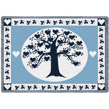 Family Tree Hearts Navy Blanket Afghan