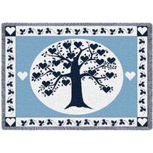 Family Tree Hearts Navy Blanket Afghan
