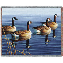 Afternoon Geese Procession Woven Large Soft Comforting Throw Blanket 100% Cotton Made in the USA 72x54 Tapestry Throw